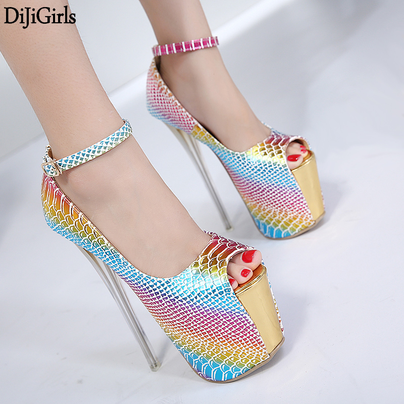 Zapatos Mujer Tacon 18cm Heel Shoes Womens Gold High Heels Sexy Peep Toe High Heel Pumps Women Ankle Strap Platform Shoes 7 colors new sexy women pumps shoes high heels tacon alto bride wedding zapatos mujer pointed toe sweet bowtie women shoes