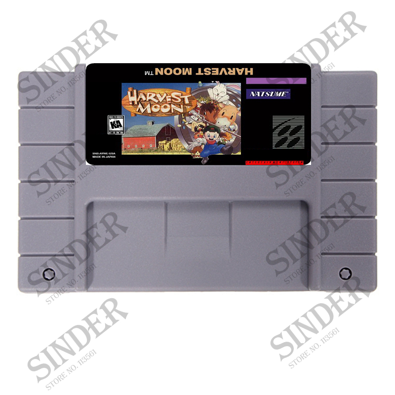Harvest Moon 16 bit Video Game Card For NTSC/PAL Game Player image