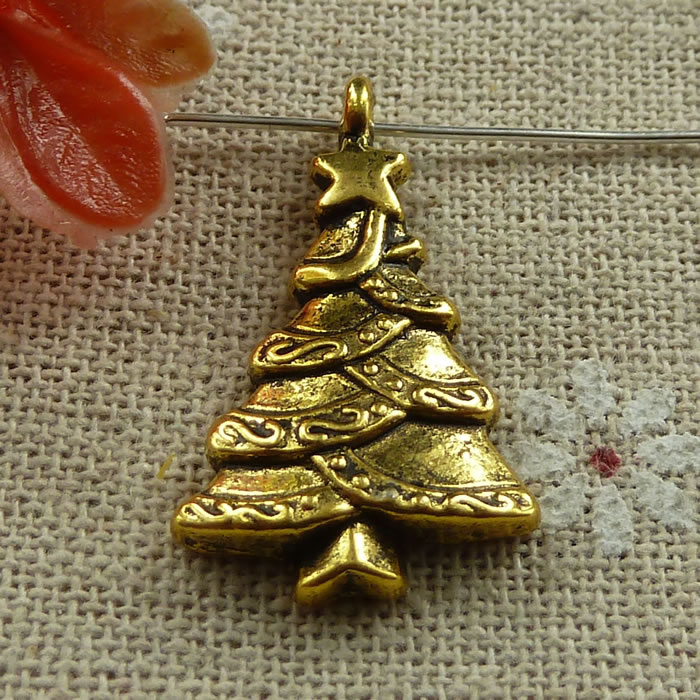 Aliexpress 102 Pieces Antique Gold Christmas Tree Charms 28x18mm 945 From Reliable Charm Suppliers On Lian Cun S