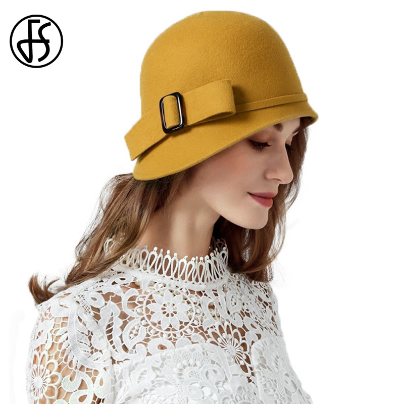 FS Vintage Yellow Lady Wool Felt Hat Women Bowler Derby Fedora Cap Winter Bowler Cloche Hats Gorro De Fieltro Mujer crossbody bowler bag