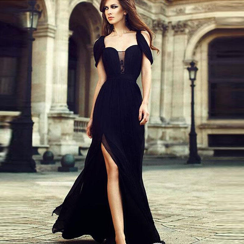 617533d18a5 Black Party Women Dress Slim Womens Sleeveless V Neck Split Chiffon Long  Maxi Dress Formal Party