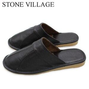 Image 3 - אבן כפר פרה עור קיץ סנדלי נשים בית זוג נעלי גברים קיץ בית רצפת פנים החלקה נעלי גודל 35 44