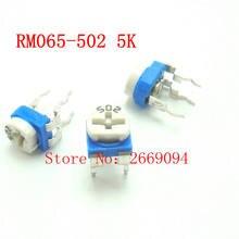 50 PCS RM-065 RM065 5 K ohm Trimpot Trimmer Potenciômetro resistor variável 502 RM065-502 frete grátis