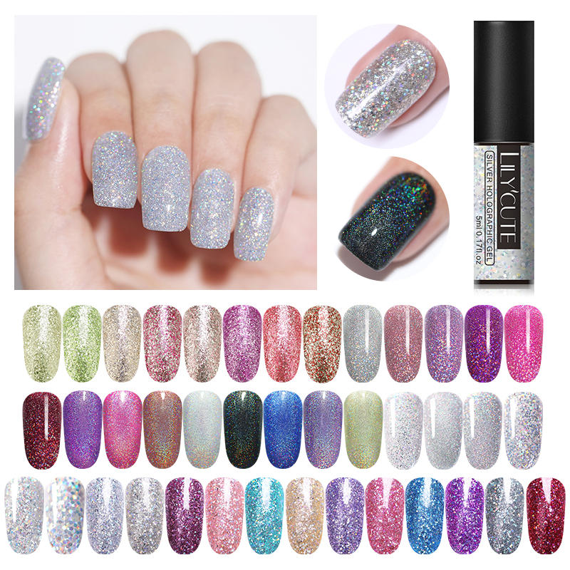 LILYCUTE 5ml Holographic UV Gel Nail Polish Shimmer Glitter Sequins Art Varnish Soak Off Manicure Lacquer