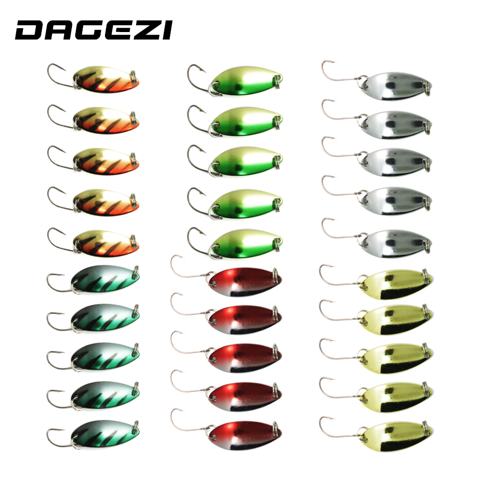 DAGEZI 30pcs/lot metal Lure fishing bait spoon lures 3G fishing lure 6 colors Retail Box fishing tackle box pesca 30pcs set fishing lures kits anti beat metal fishing lure colorful crankbaits tackle de pesca hard spoon baits fake baits