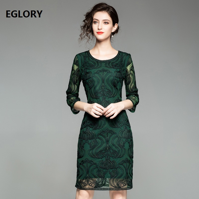 be89469b227 ... Festa 2018 Fashionable Women O Neck Allover Appliques Embroidery 3 4 Sleeve  Bodycon Fitted Cocktail Party Lady Dress on Aliexpress.com