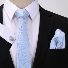2019 Floral Ties Cufflinks Set Fashion Business Wedding Party Woven Ties Men's Silk Neck Tie Set and Handkerchiefs
