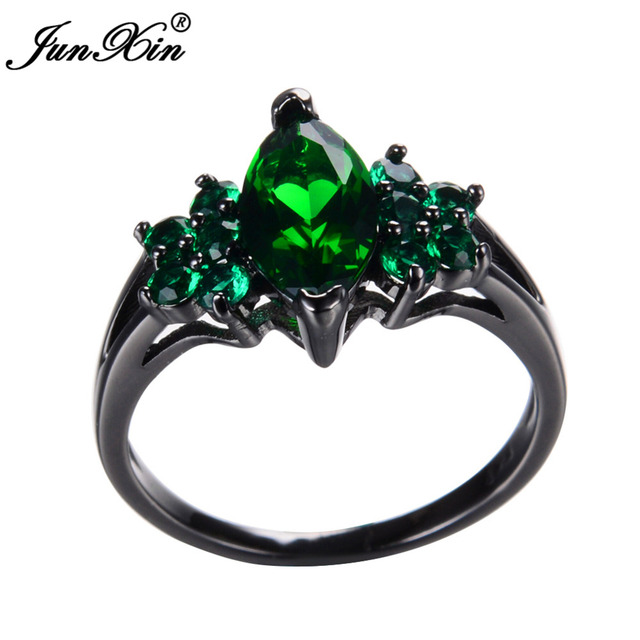 Junxin Male Female Green Ring Crystal Fashion Jewelry Vintage