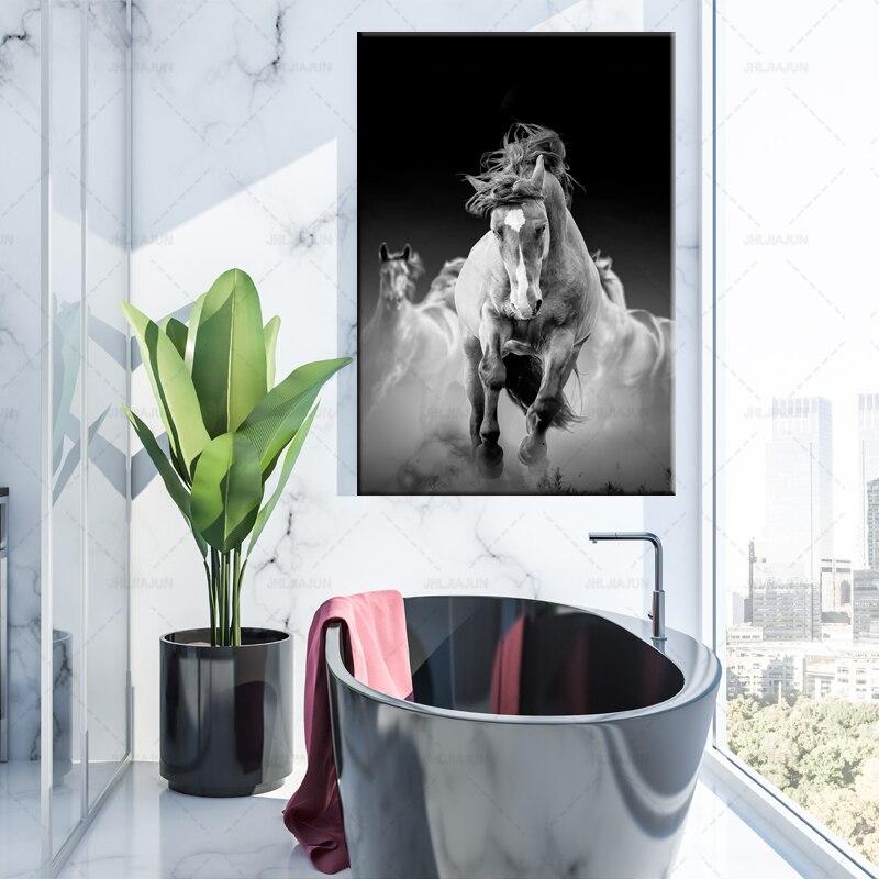 Noir blanc mur Art abstrait photo imprime cheval peintures sur toile Animal affiche moderne décor à la maison pour salon