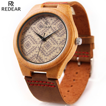 Wood Watches Men 2016 New REDEAR Brand Men's Natural Bamboo Wooden Wrist Watch Waterproof Simplicity Clock Man Quartz Watch Male