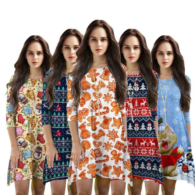Tamanho livre Vestido 2016 Moda Outono Confortável Sete Pontos Da Luva T-shirt do Selo Do Natal Vestido Para Jovens Senhoras
