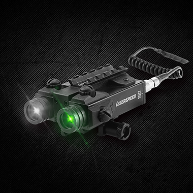 LASERSPEED 5mw Military Green Laser Sight Dual Beam Green Laser and Infrared IR Laser Rifle Tactical