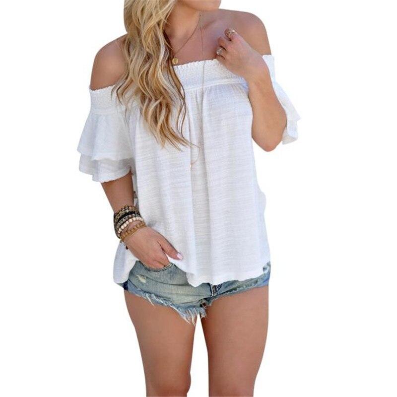 2018 fashion Women Off Shoulder  Short Sleeve Casual Shirt Tops women  Shoulder short sleeves  T-shirt a25 drop