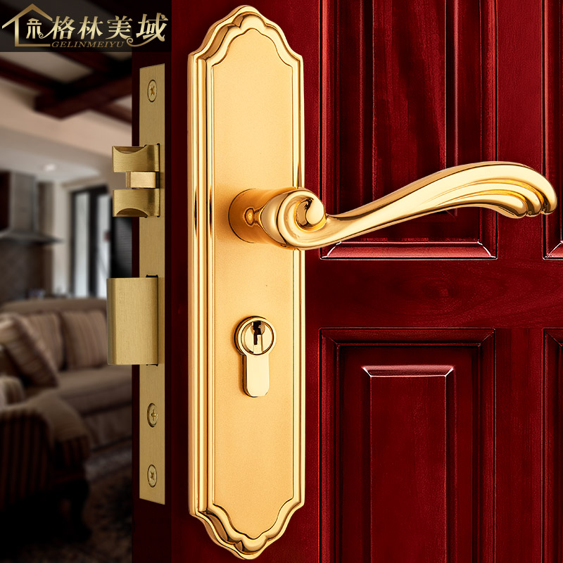 European-style copper interior door lock gold bedroom door lock door lock antique copper door lock ceramic lock the door when indoor european ball lock hold hand lock copper core ss