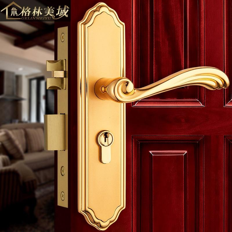Serrure de porte intérieure en cuivre de style européen serrure de porte de chambre en or serrure de porte serrure de porte en cuivre antique