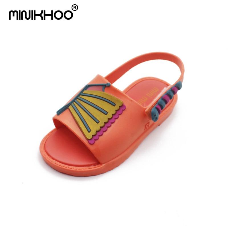 Mini Melissa Children Jelly Shoes Leaves Butterfly Sandals Girls Boys Soft Bottom Beach Shoes Non-Slip Melissa ChildrenS Shoes