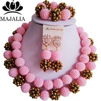 Majalia Fashion Nigeria Wedding African Jewelry Set Pink Crystal Plastic Pearl Necklace Bride Jewelry Sets Free shipping 2CY021