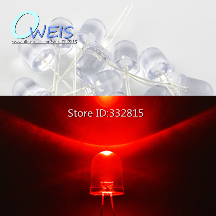 20PCS F10 F10MM 10MM LED SUPER BRIGHT RED (WATER CLEAR) DIP-2 LONG LEG light beads Free shipping
