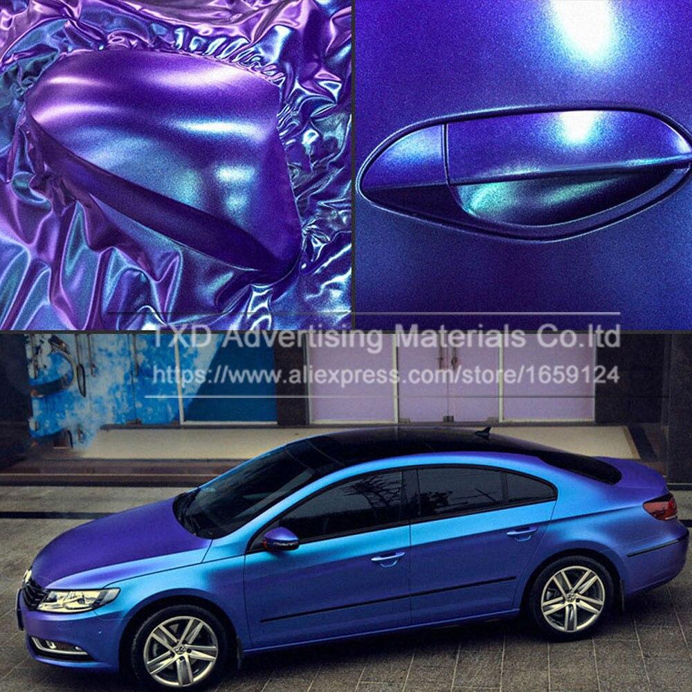Qualidade Premium Pérola Matte Vinil Camaleão Roxo/azul Vinil Película Do Envoltório Do Carro Com Bolha de Ar Livre Veículo Carro FUNDIDO folha de estilo