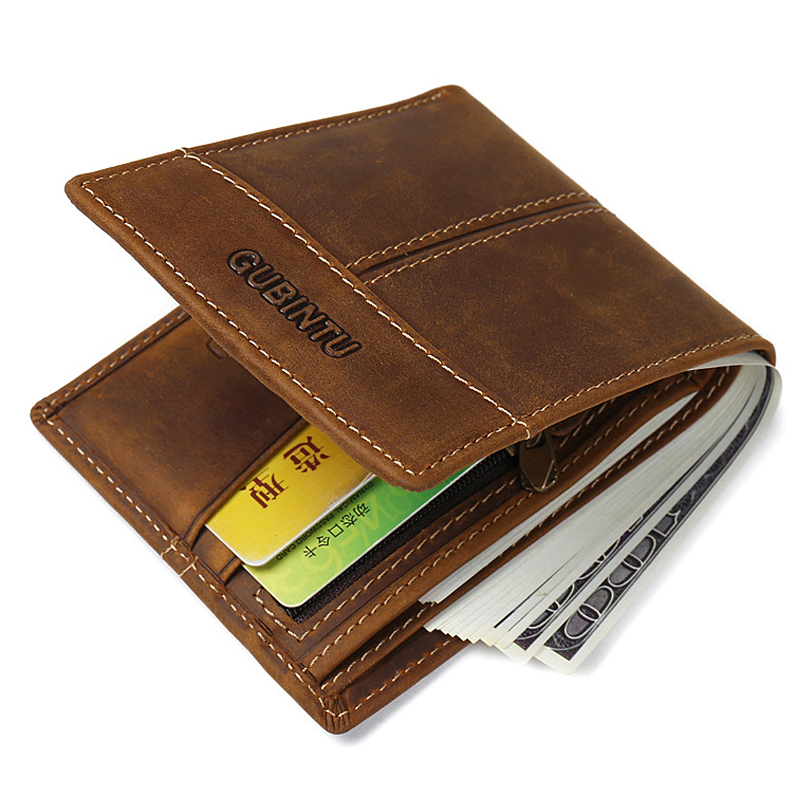 New Men's Wallets Crazy Horse Cowhide Genuine Leather Business High Quality Coin Purses Male Brown ID Credit Card Holder  Wallet onlvan mens wallet crazy horse genuine leather cowhide cover coin purse man vintage male credit id multifunctional wallets