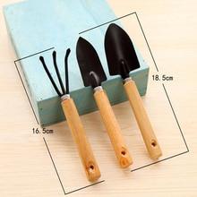 ot sale 3PC/set Mini Garden Hand Tool Kit Plant Gardening Shovel Spade Rake with Wood Handle Metal Head for Gardener