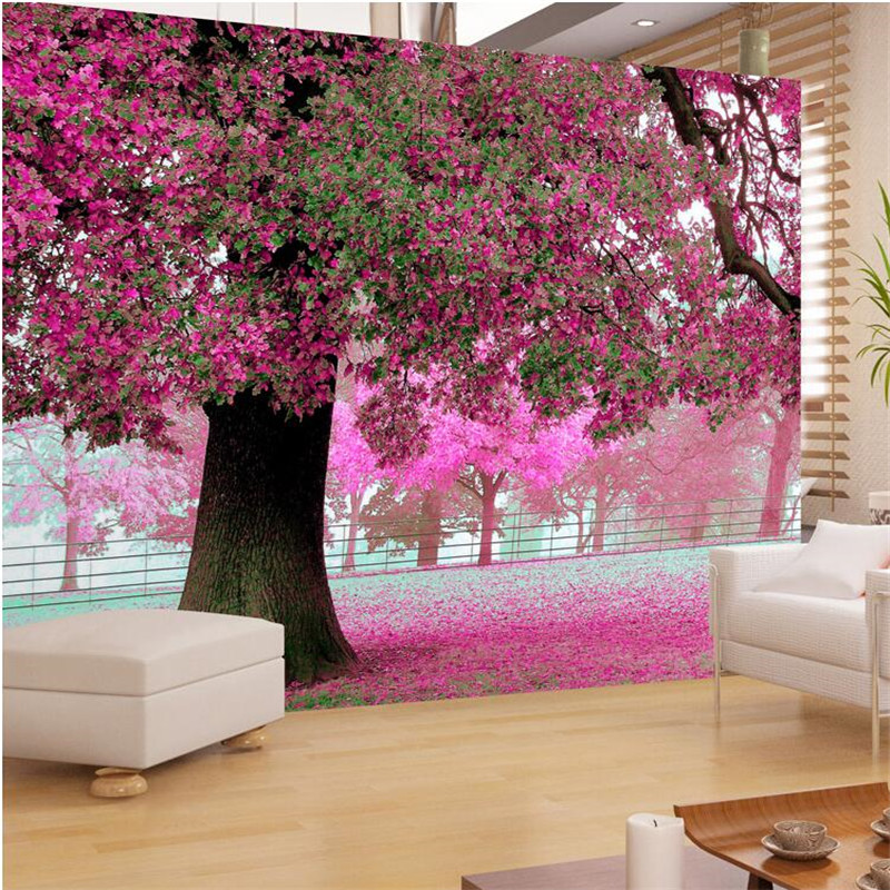 Photo wall paper for living room tv setting room sofa warm for Cherry blossom tree mural