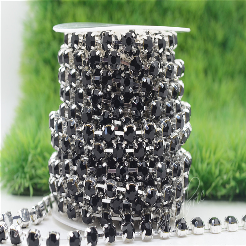 6/8mm Top Quality Sparkle Crystal Black Rhinestone Handmade Silver Strong Chain Jewelry Making ss28-ss38 10yards