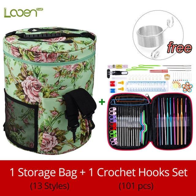 13 Style Yarn Storage Bag With Mix 22pcs Crochet Hook Set Sewing Tools Accessories Knitting Needles Big Holder Yarn Bag