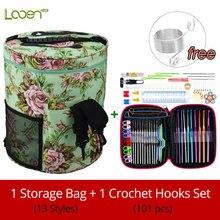 13 estilo fio saco de armazenamento com mix 22 pçs crochê gancho conjunto ferramentas de costura acessórios agulhas de tricô grande titular saco de fios