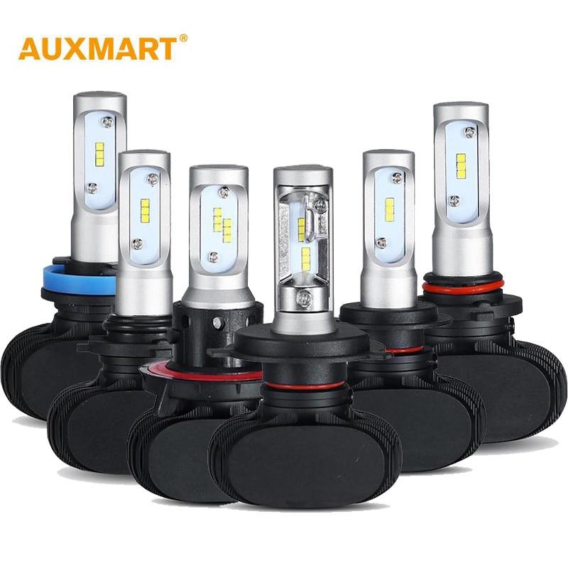 Prix pour Auxmart S1 H4 H13 H7 H11 9005 9006 Voiture LED Phare Avant ampoule 6500 K 8000LM Plongé Salut-Lo Faisceau Voiture Projecteurs 12 v 24 v DRL 50 W/set