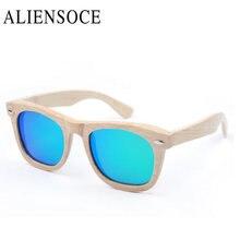 ALIENSOCE New Fashion Products Men Women Glass Bamboo Polarized Sunglasses AU Retro Vintage Wood TAC Lens Wooden Frame Handmade