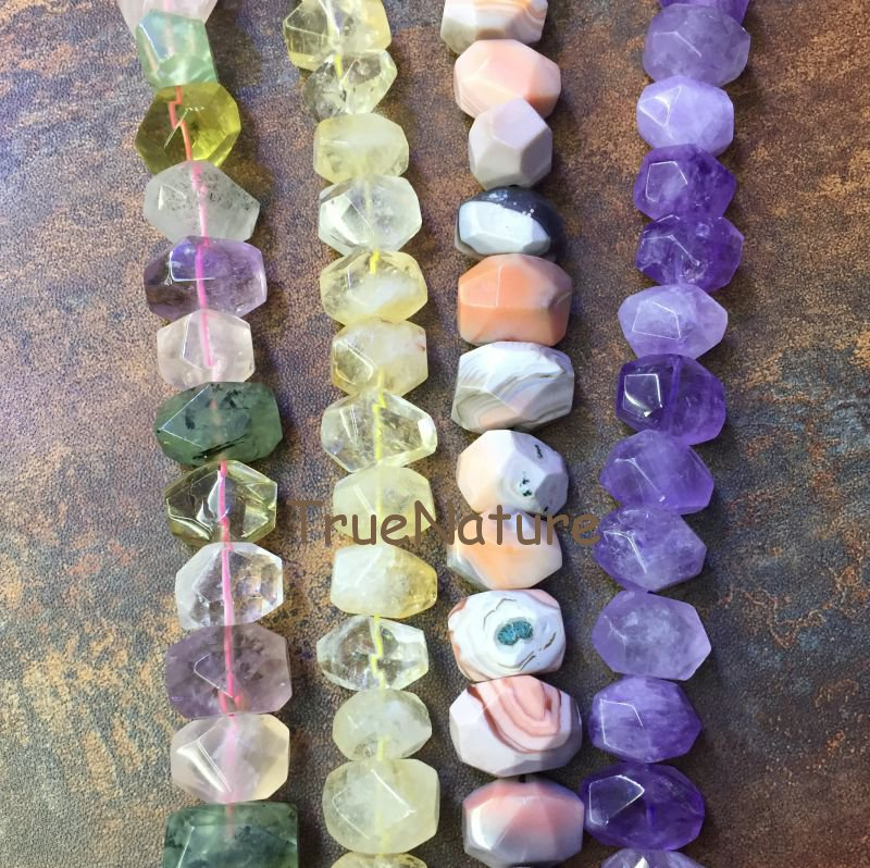 Smooth Faceted Nugget Beads, Full Strand Stone Amethysts Bostwana Agates Cirtrines Stone Nugget Jewelry In 13*18 mm BE6393 faceted nugget loose beads sakura agates loose beads full strands cherry agates stone petite nuggets beads in 12 30 mm be7578