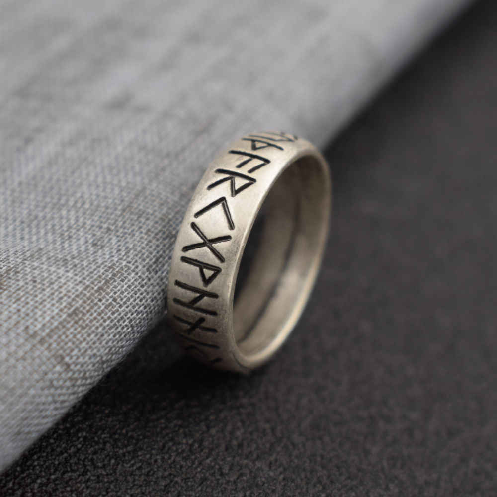 Viking Rune Ring with Elder Futhark Runes Norse Ring Scandinavian Jewelry SanLan