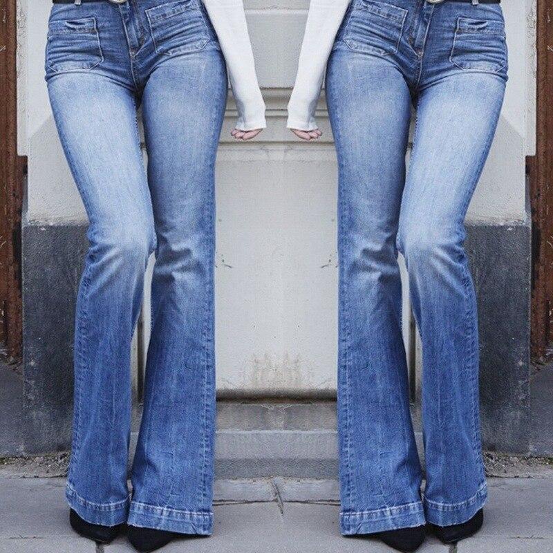 Women   Jeans   High Waist 2019 Plus Size Blue Boot Cut Denim   Jeans   Womens S-3XL Streetwear Ladies Casual Washed   Jean   Pants Female