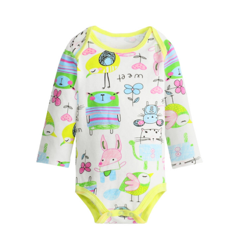 3 Pieces / Lot Danrol Colorful Baby Bodysuits 0-18M Longsleeves 100% Cotton Boy Girl Jumpsuit Infant Clothings Baby Bodysuits ...