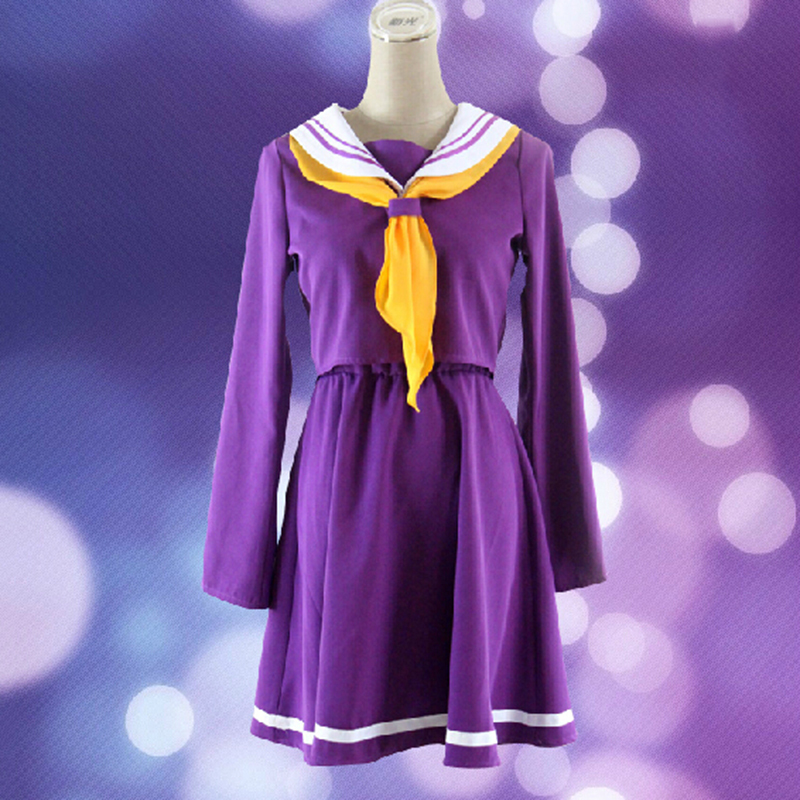 No Game No Life font b Cosplay b font Costume Sailor Style Shiro Cos Skirt Japan