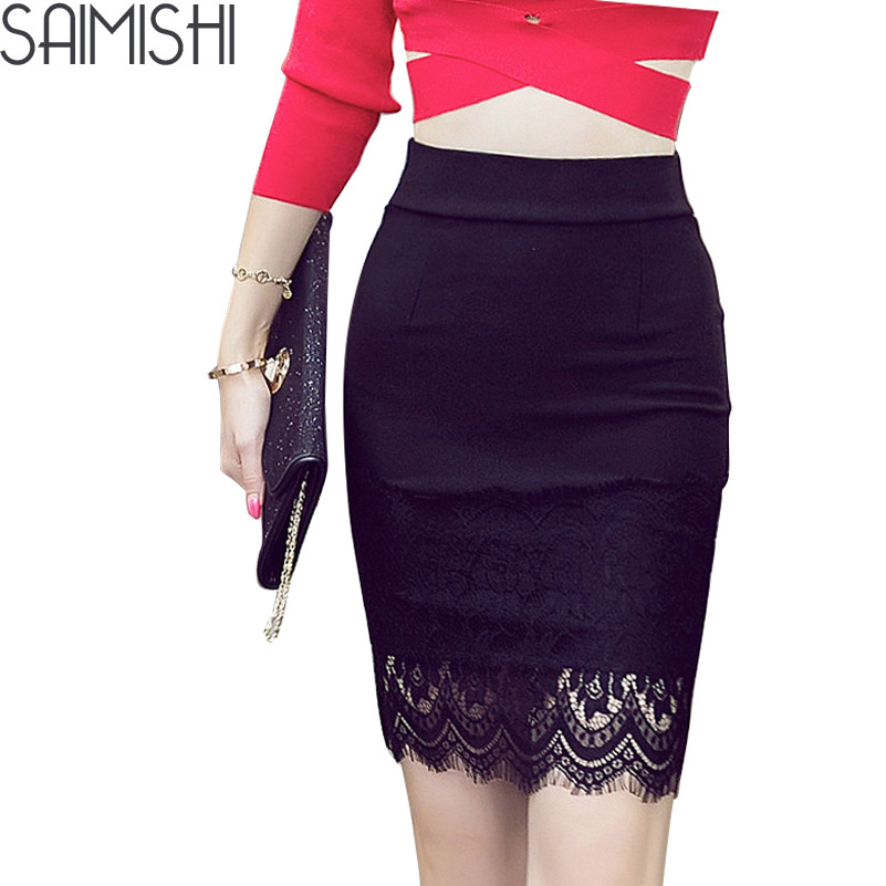 Spring Black Faux Leather Skirt Women White Crane Flowers Embroidery ...