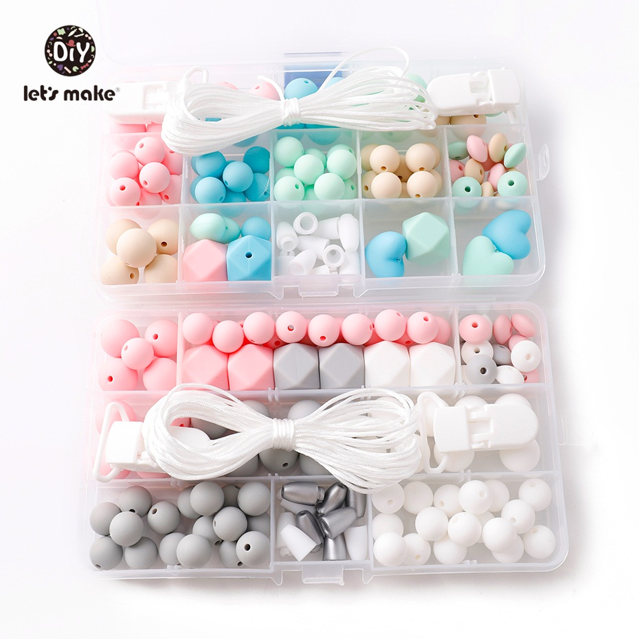 Let s Make Baby Accessories 2set Pacifier Clip DIY Crafts Nursing Necklace Teething Jewelry Baby Silicone