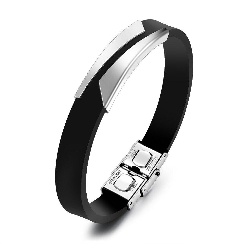 Simple Design OL Classic Mens Bracelets Bangles, Black Genuine Leather Bracelet Men erkek bileklik Braclet Jewelry