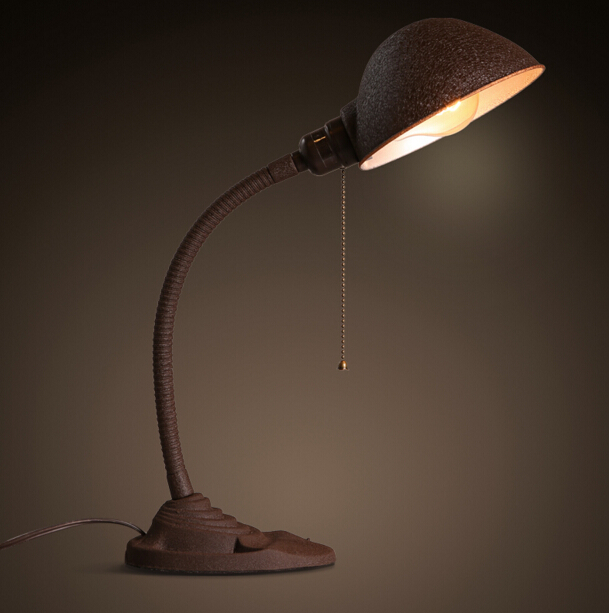 American Industrial Retro Office Study Bedroom Bedside Creative Iron Table Lamp Free Shipping