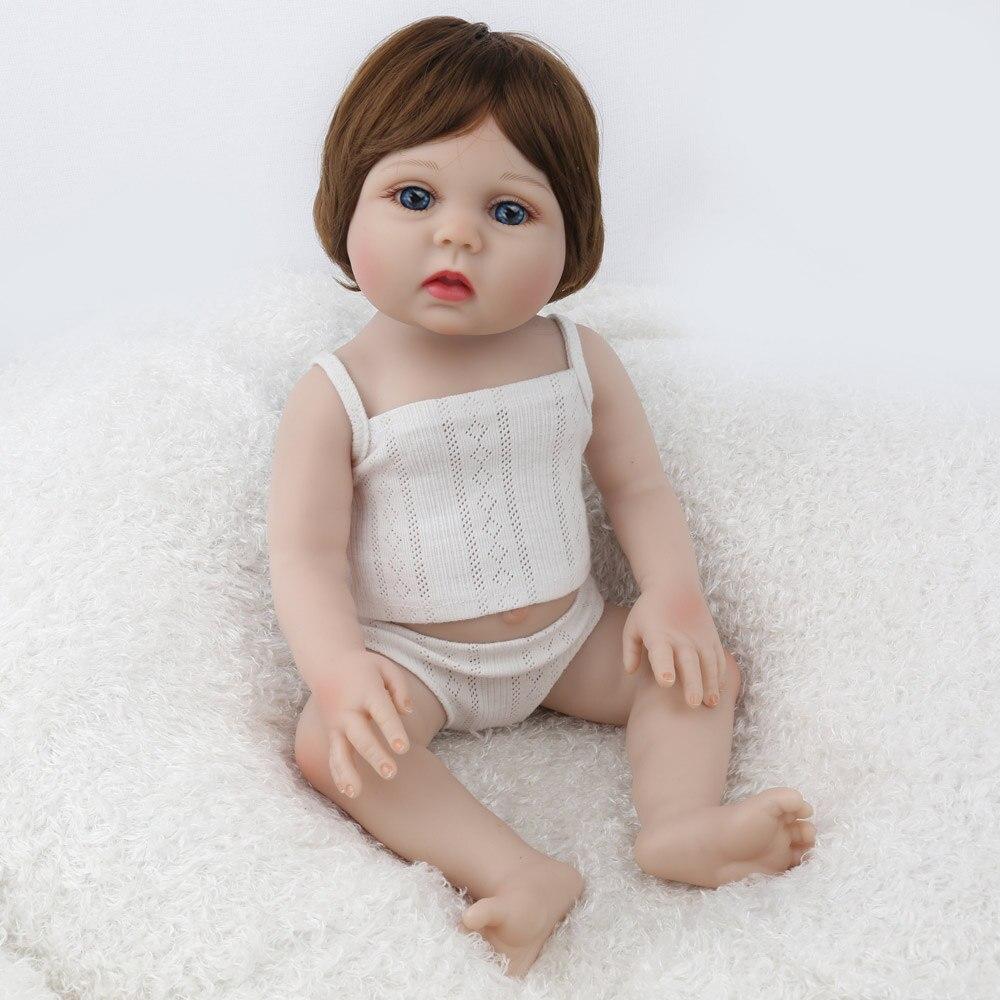 NPK BONECA Reborn Bebê Menina Cheia de silicone Vinil bonecas brinquedos para as crianças Presente de Aniversário Lucy Marrom Peruca de Cabelo bebe s reborn boneca - 4