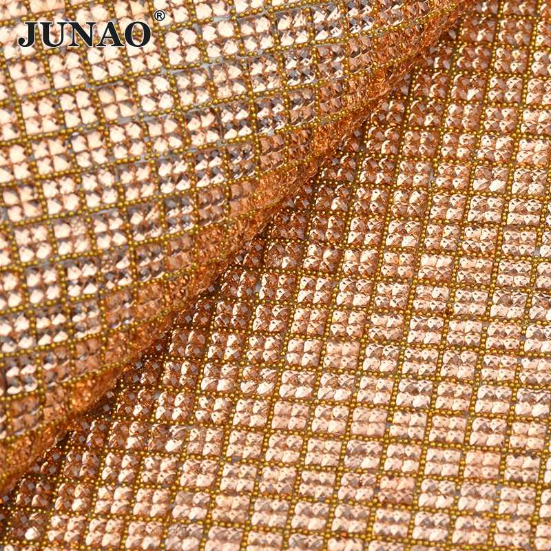 c4528208f0 JUNAO 24*40cm Champagne Self Adhesive Rhinestones Fabric Hot-Fix Crystal  Mesh Trim Resin Strass Banding Sheets For DIY Clothes
