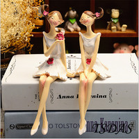 2pcs/set Beautiful Girl & Angel Creative Resin Doll Ornaments Europe Style Fairy Figurines Wedding Home Decoration