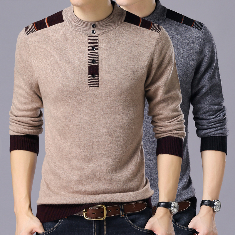 2020 Winter New Arrivals Thick Warm Sweaters O-Neck Wool Sweater Men Brand-Clothing Knitted Cashmere Pullover Men