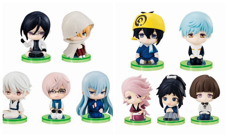 5pcs/set Game Touken Ranbu Online Mikazuki Munechika Tsurumaru Kuninaga Sitting posture Action figure Model Toy Ornaments