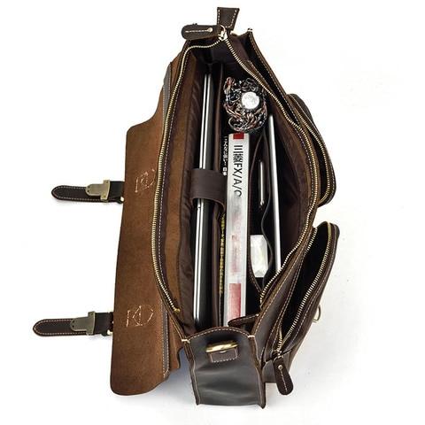 Crazy Horse Leather Business Briefcase man Genuine cow Leather handbag fit 15.6 inch laptop bag vintage shoulder messenger bags Islamabad