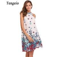Tengeio Women Halter Chiffon Dress Summer Sleeveless Boho Floral Loose Straight Gradient Beach Dress Vestidos De