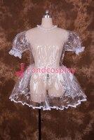 Sexy Lockable Clear PVC Sissy Maid Short Dress Cosplay Costume Uniform[T001]