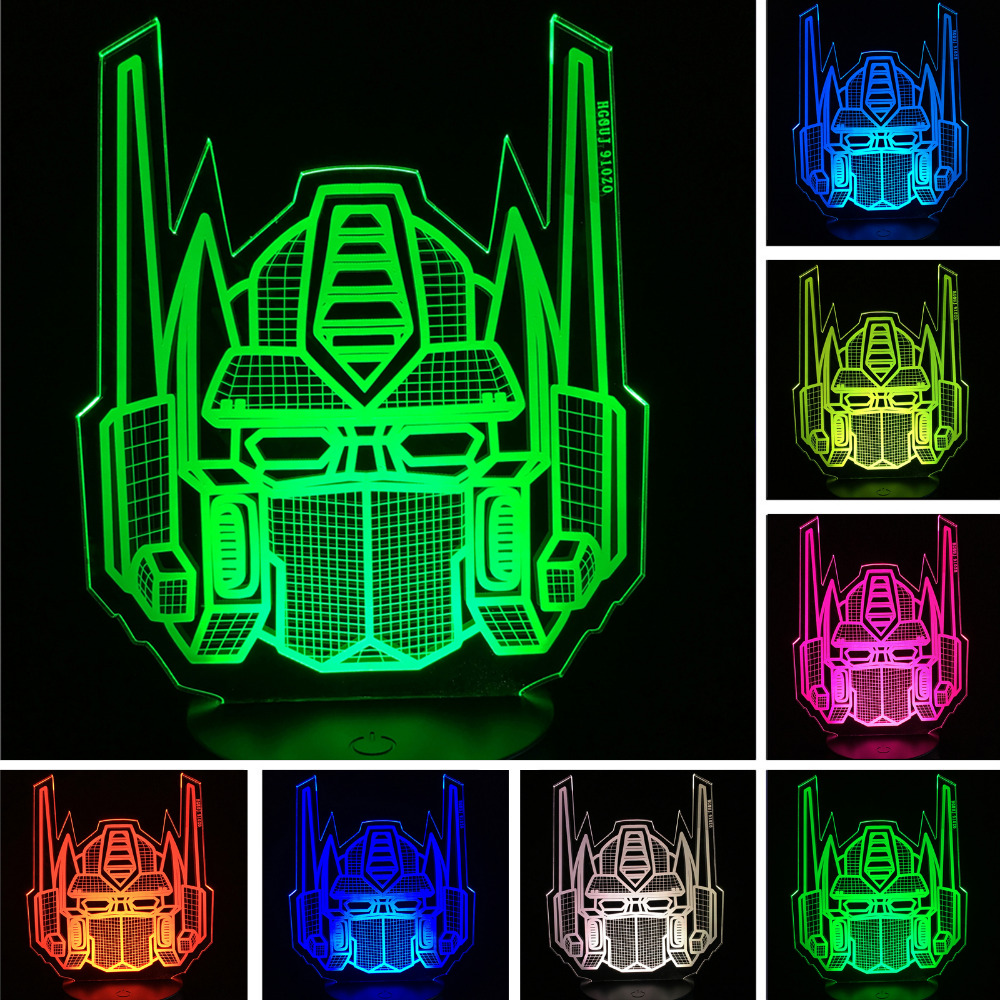 Creative Cartoon Knight Trans Figure Transformers 3D Illusion Led Night Light Colorful Lamparas Holiday Xmas Gift Home Party Dec mipow btl300 creative led light bluetooth aromatherapy flameless candle voice control lamp holiday party decoration gift