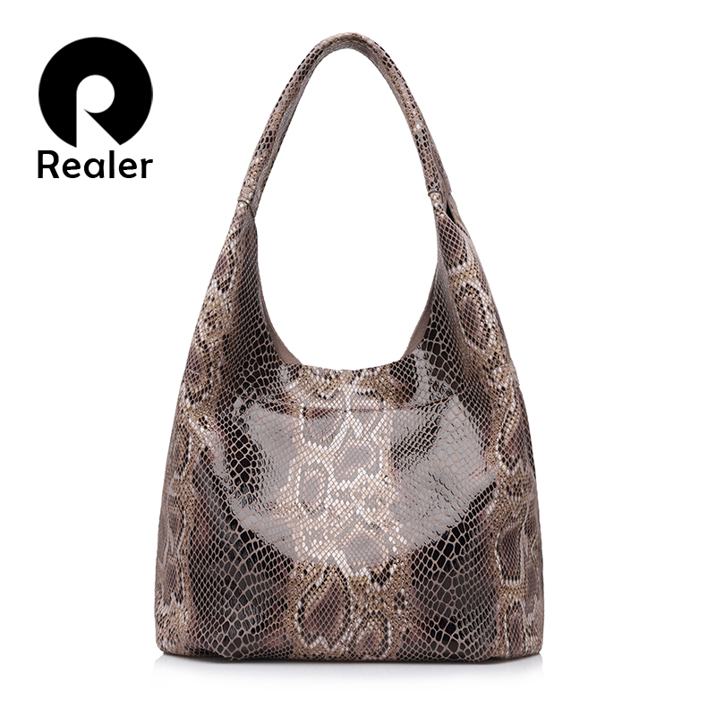 REALER genuine leather women handbags casual tote large capacity shoulder bag for women with serpentine prints